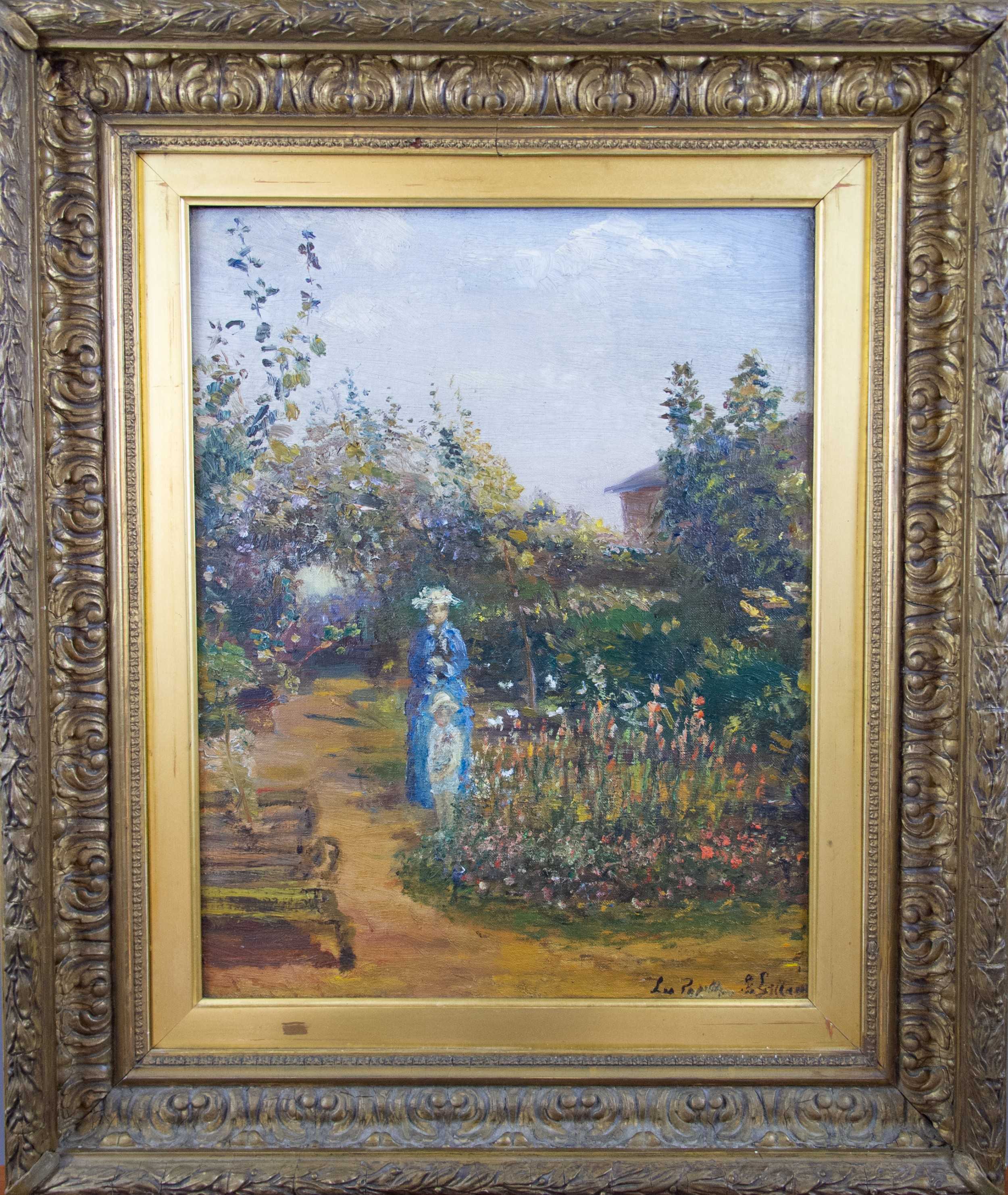 mid 19th century french school impressionist oil on canvas mother child in garden