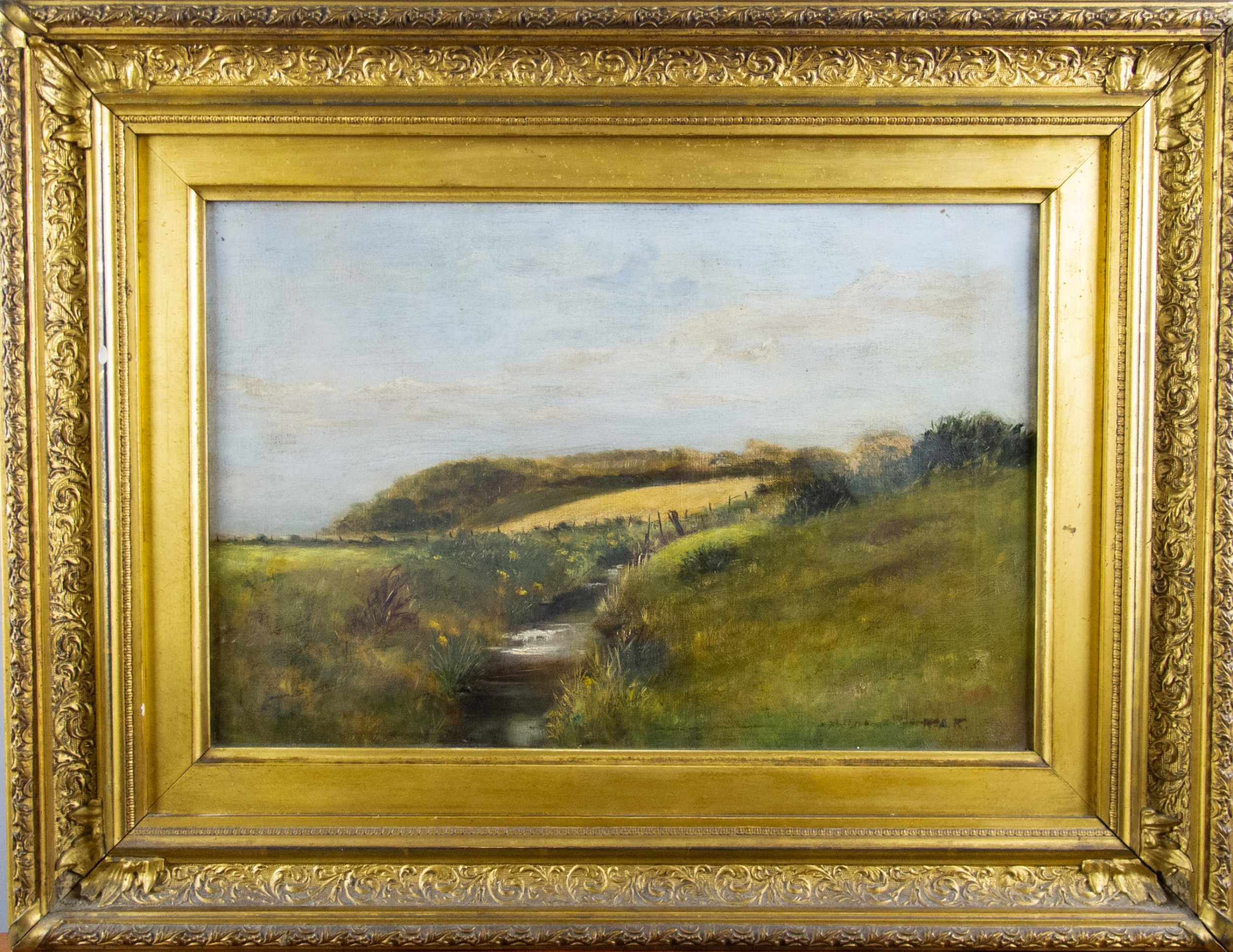 signed 19th century english school oil on canvas country stream english landscape
