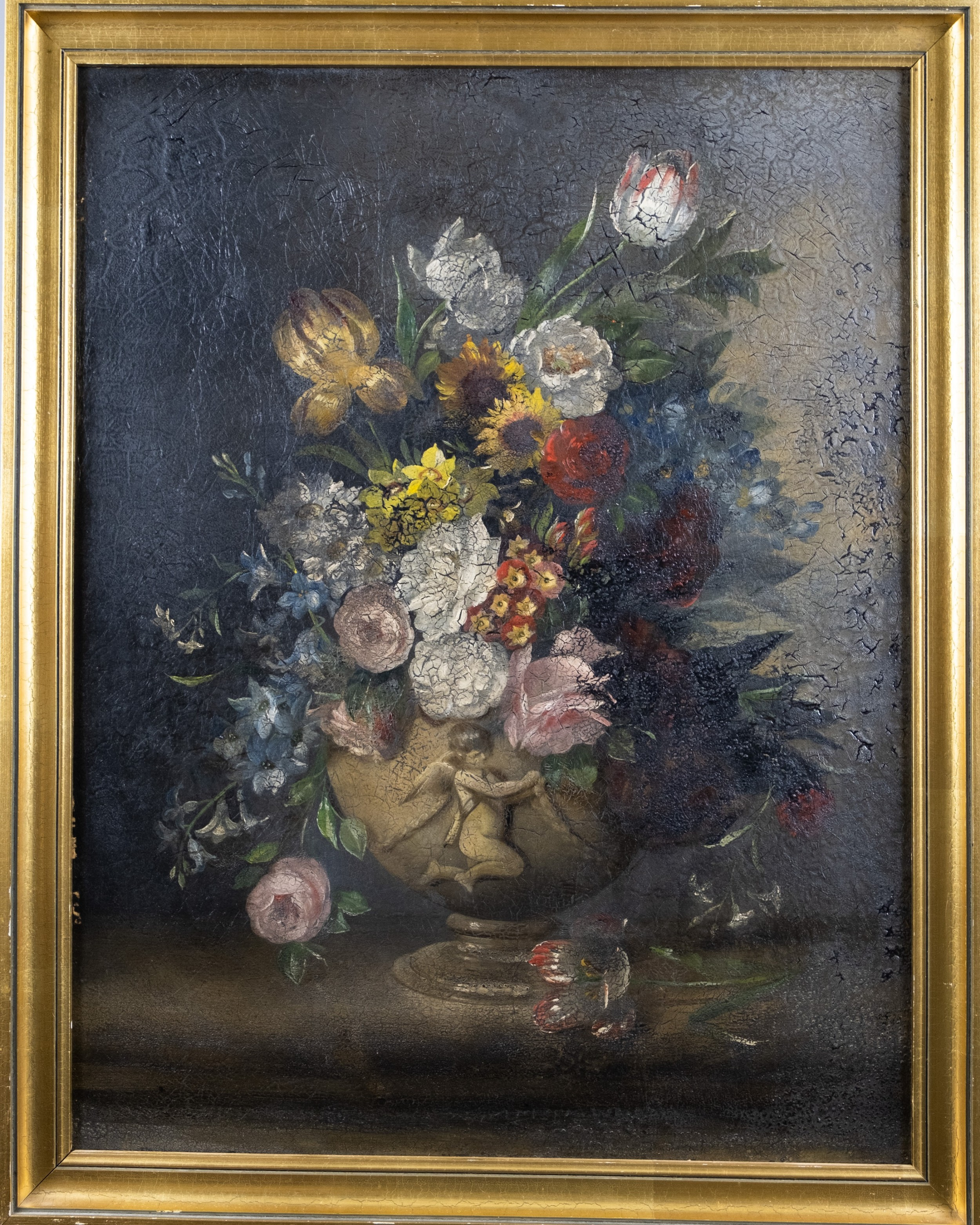 large 18th century oil on canvas still life of flowers with cupid urn