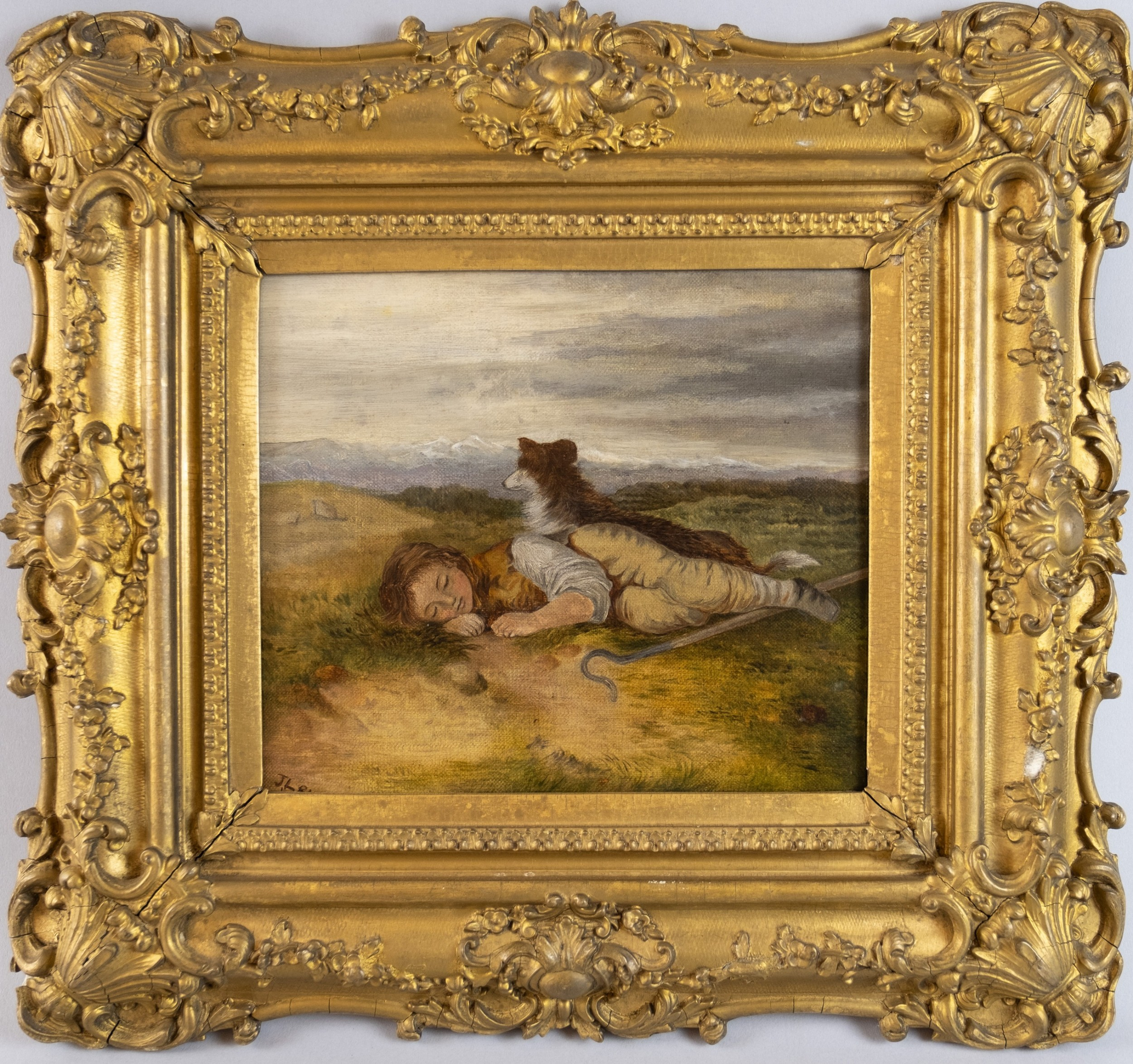 19th century oil on canvas resting shepherd dog in landscape signed dated english school