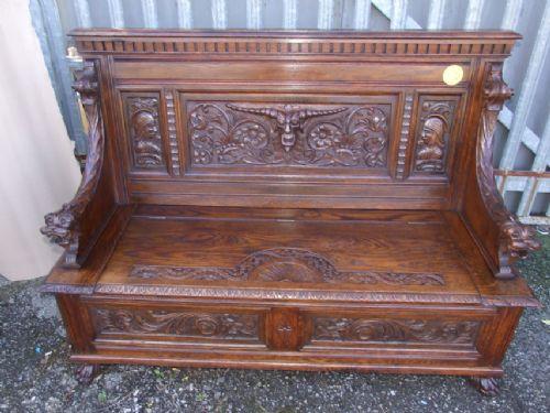 Carved oak monks bench sellingantiques