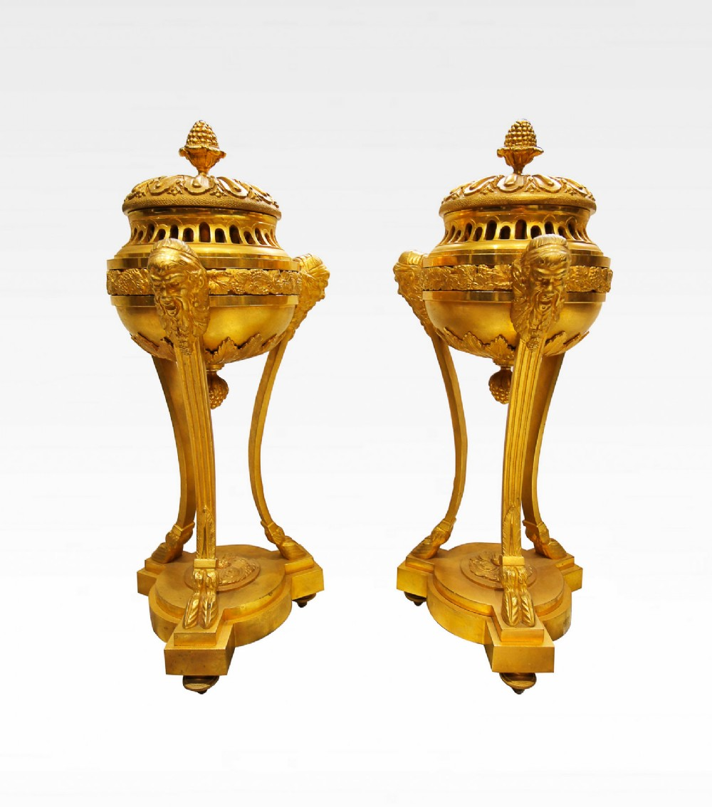a pair of 19th century french gilt bronze cassolettes