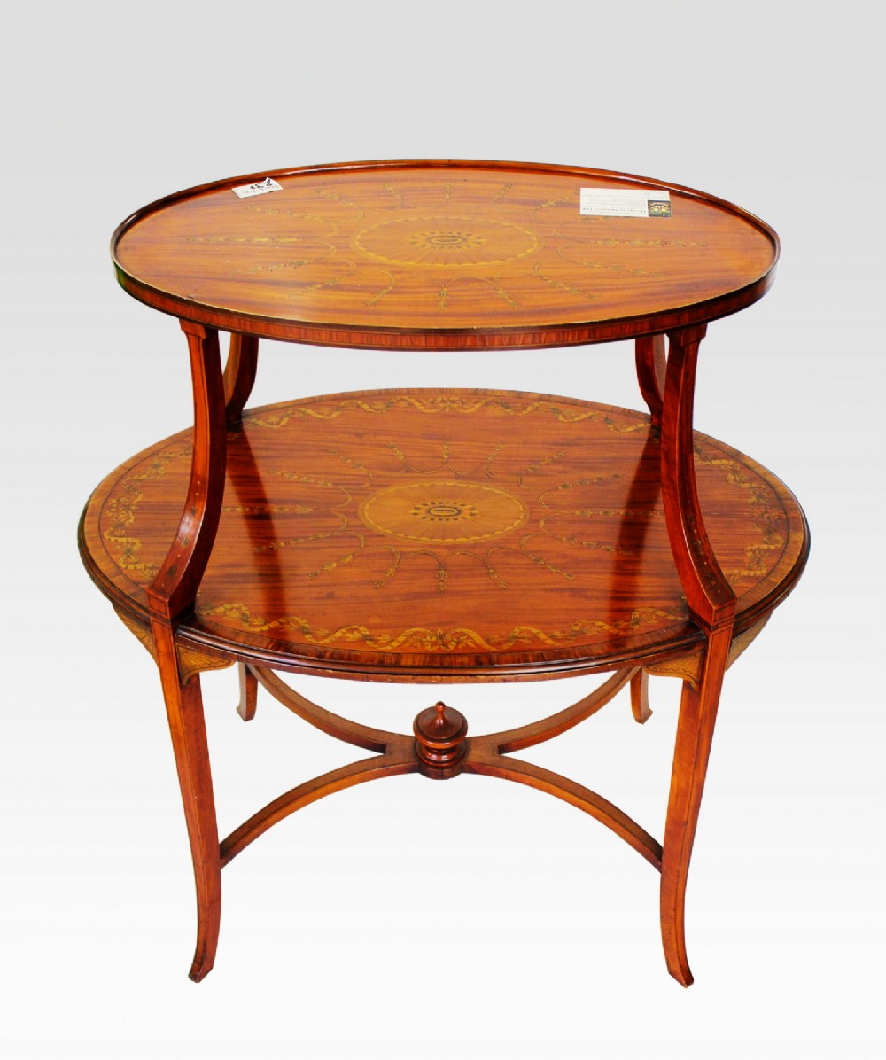 edwardian satinwood inlaid etagere two tier occasional table