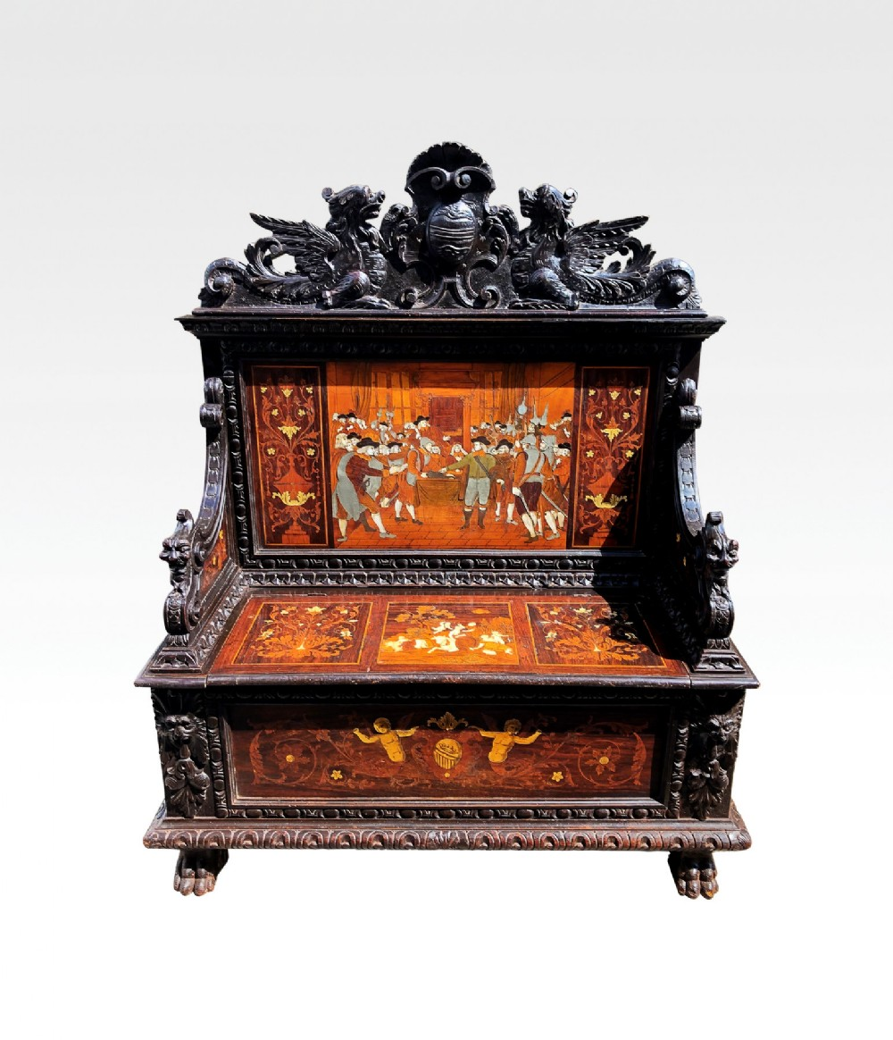 19th century italian carved settle bench