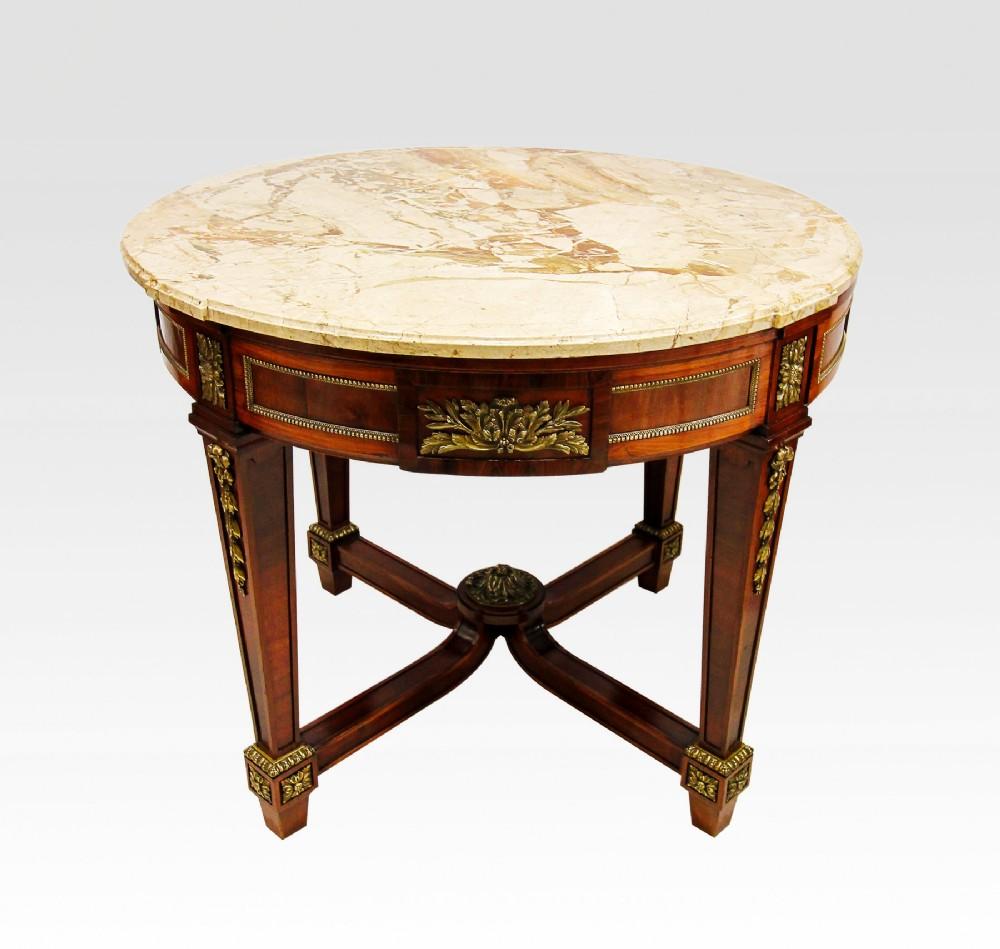 19th century french marble top mahogany table