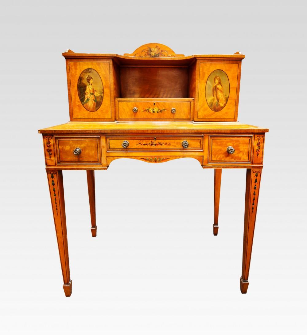 19th century satinwood painted bonheur du jour desk