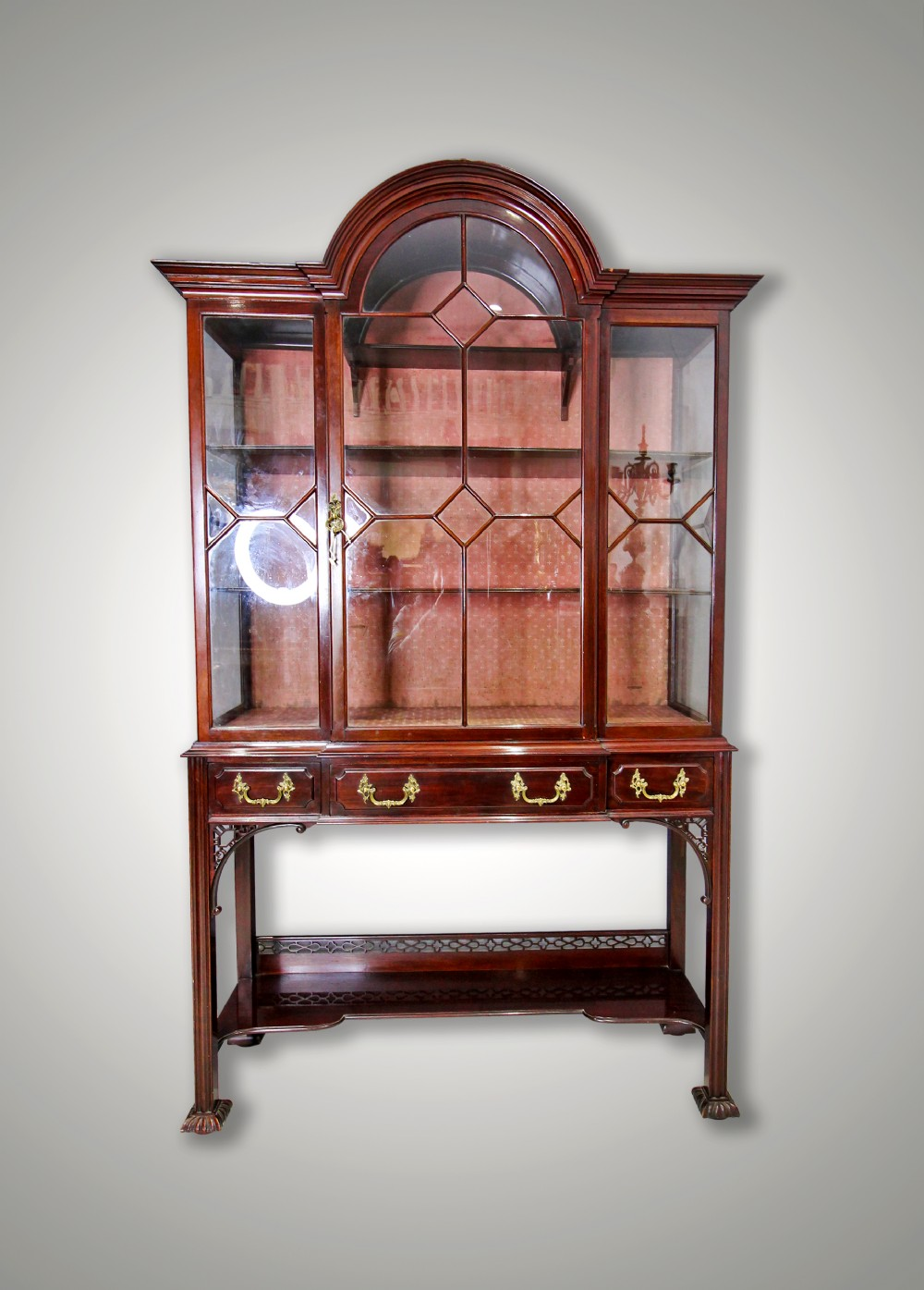 a beautiful mahogany chippendale style display cabinet