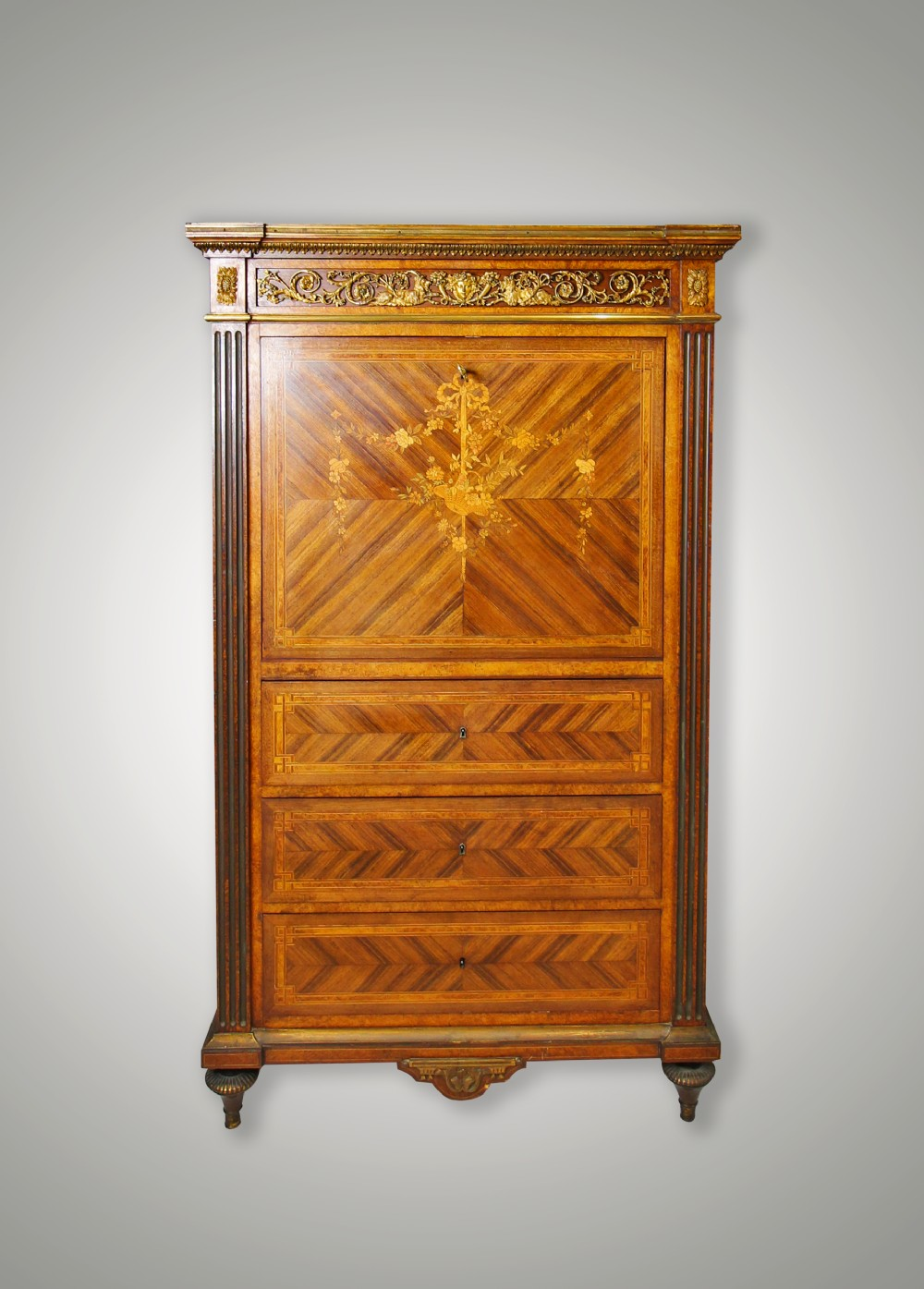 19th century french kingwood marquetry inlaid ormolu mounted secretaire a abattant