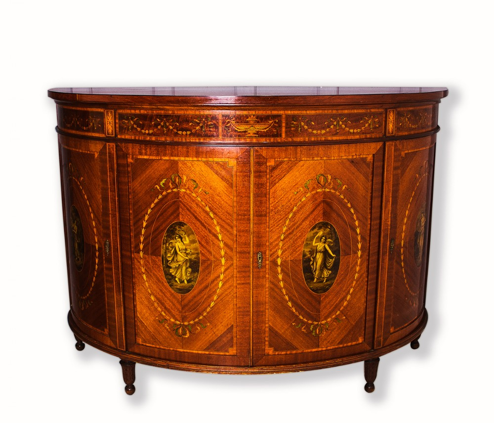 a fine quality 19th century mahogany inlaid demi lune side cabinet commode by maple co