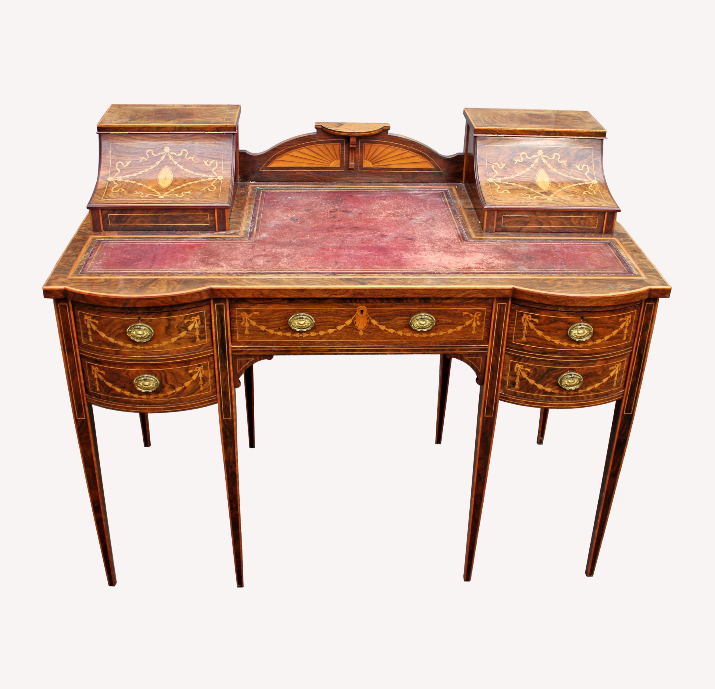 a lovely english rosewood satinwood marquetry inlaid writing desk
