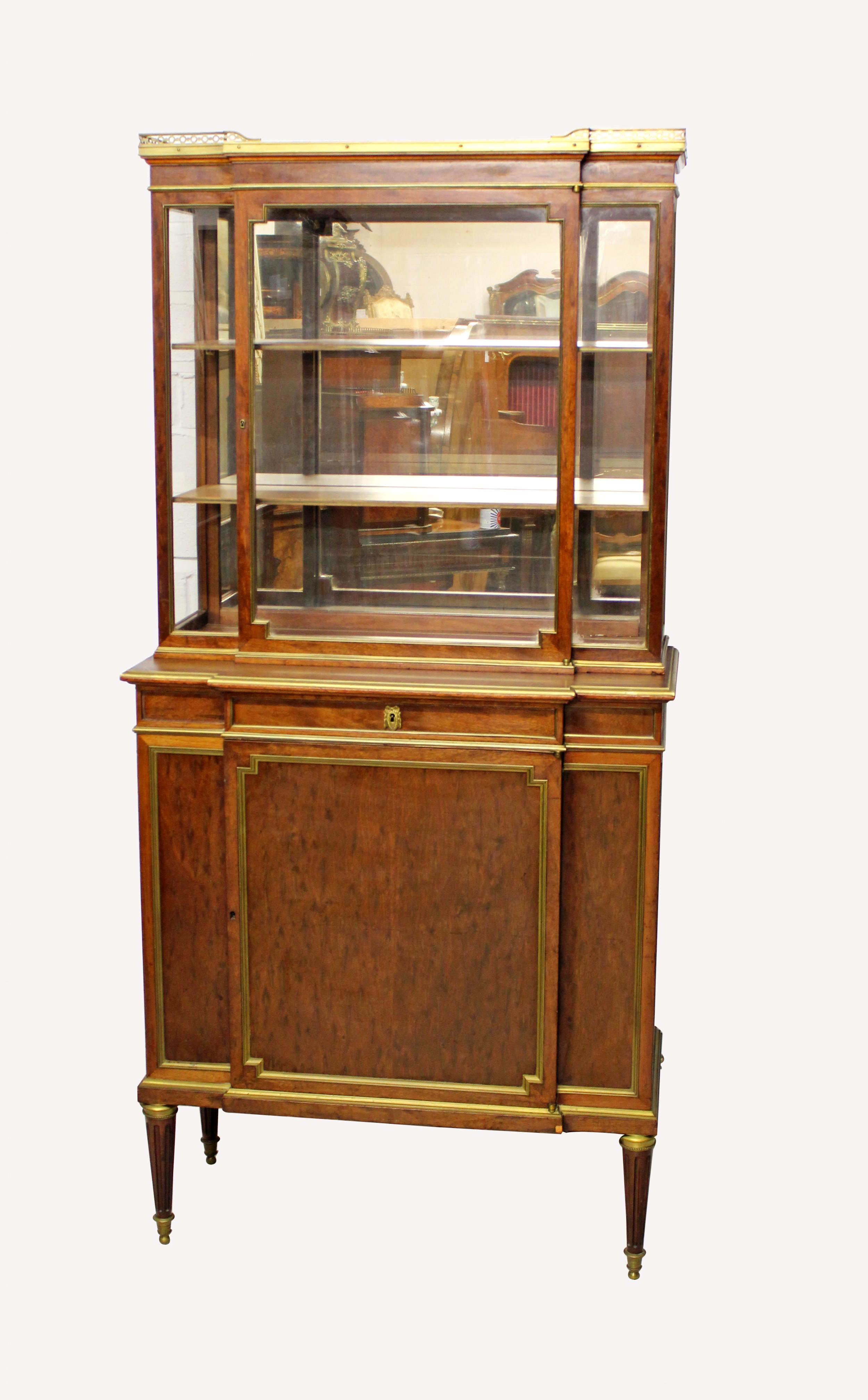 a french empire vitrine cabinet in plum pudding mahogany