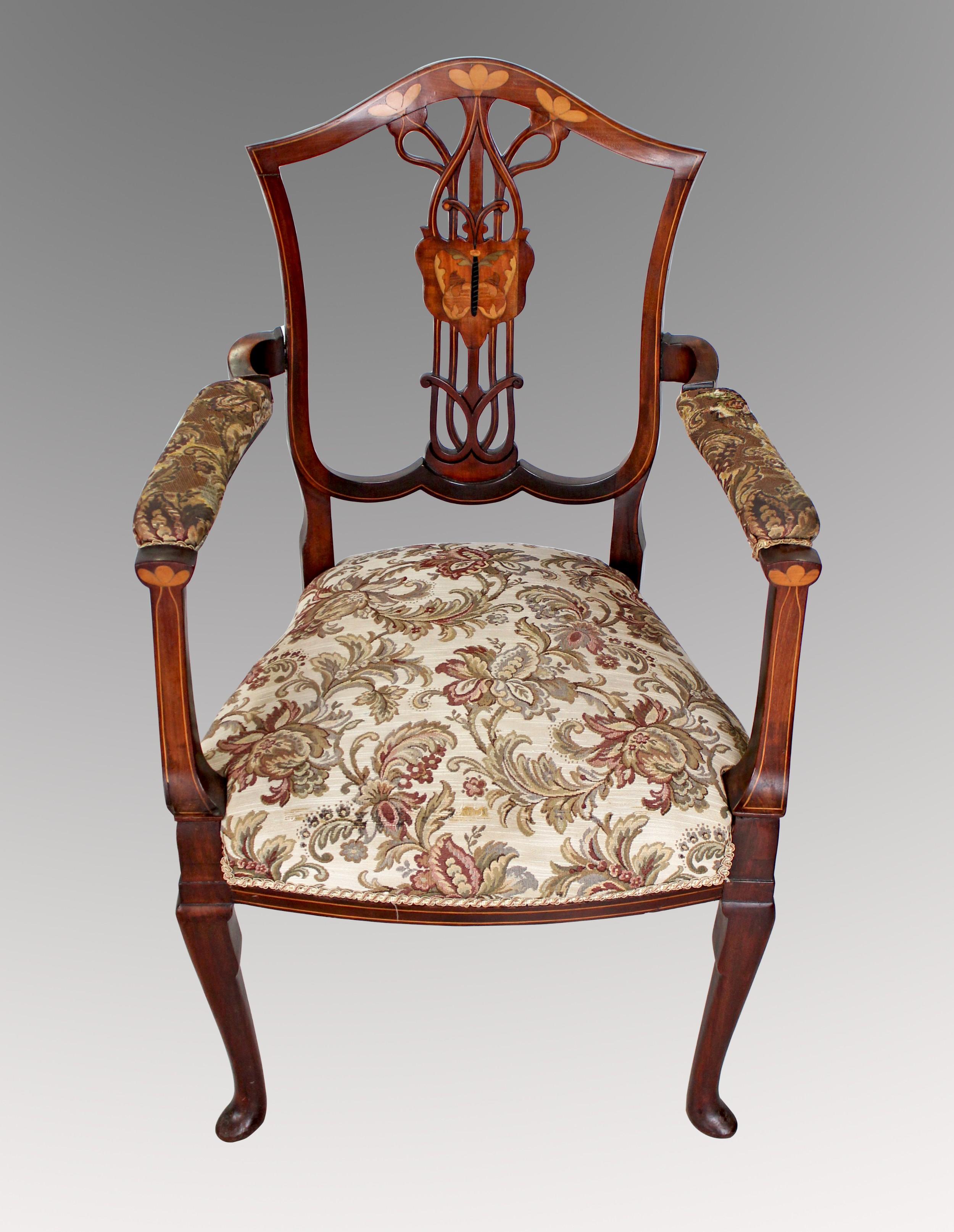 a very pretty art nouveau arm chair