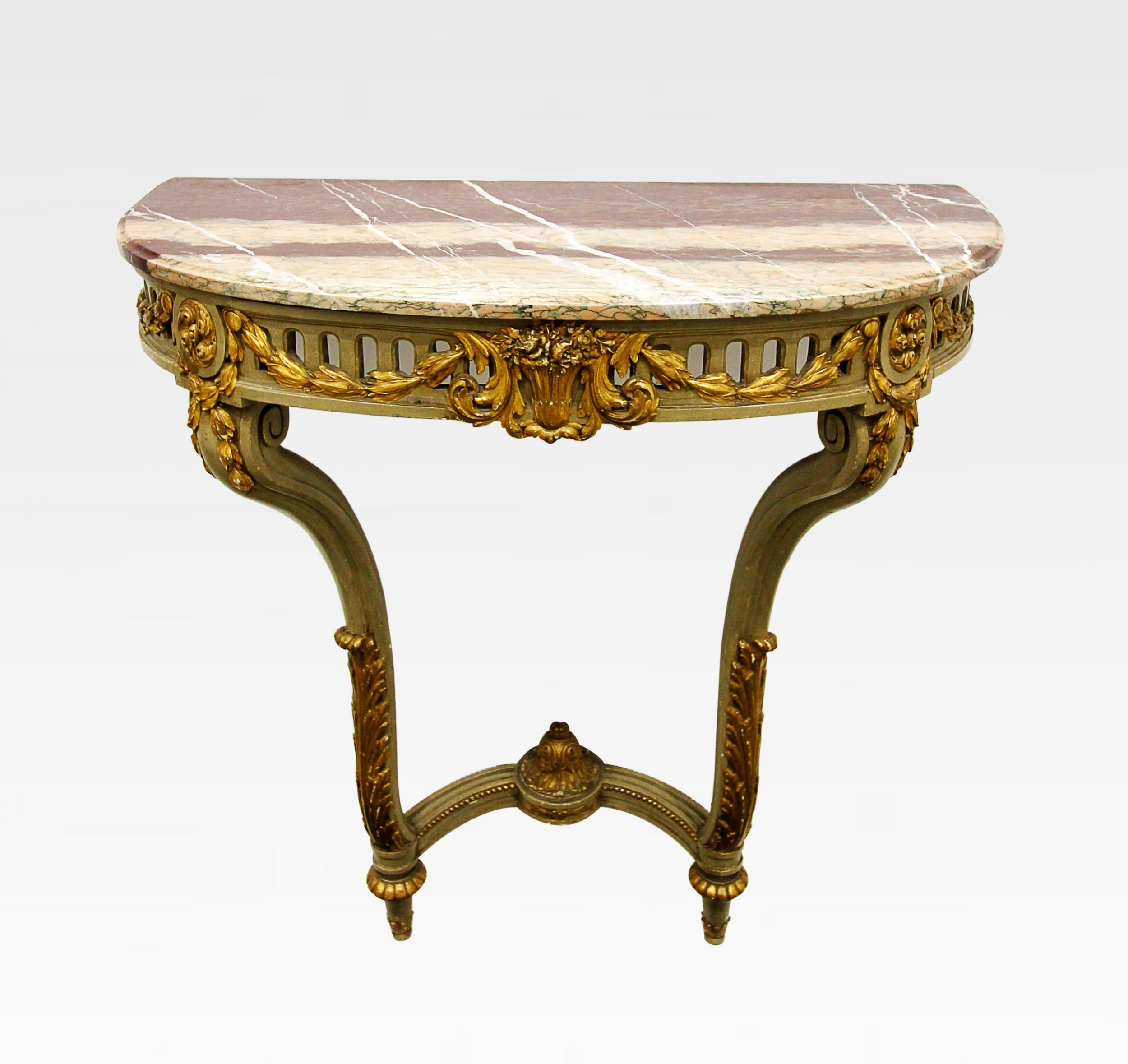 a decorative french painted gilt wood marble top console table