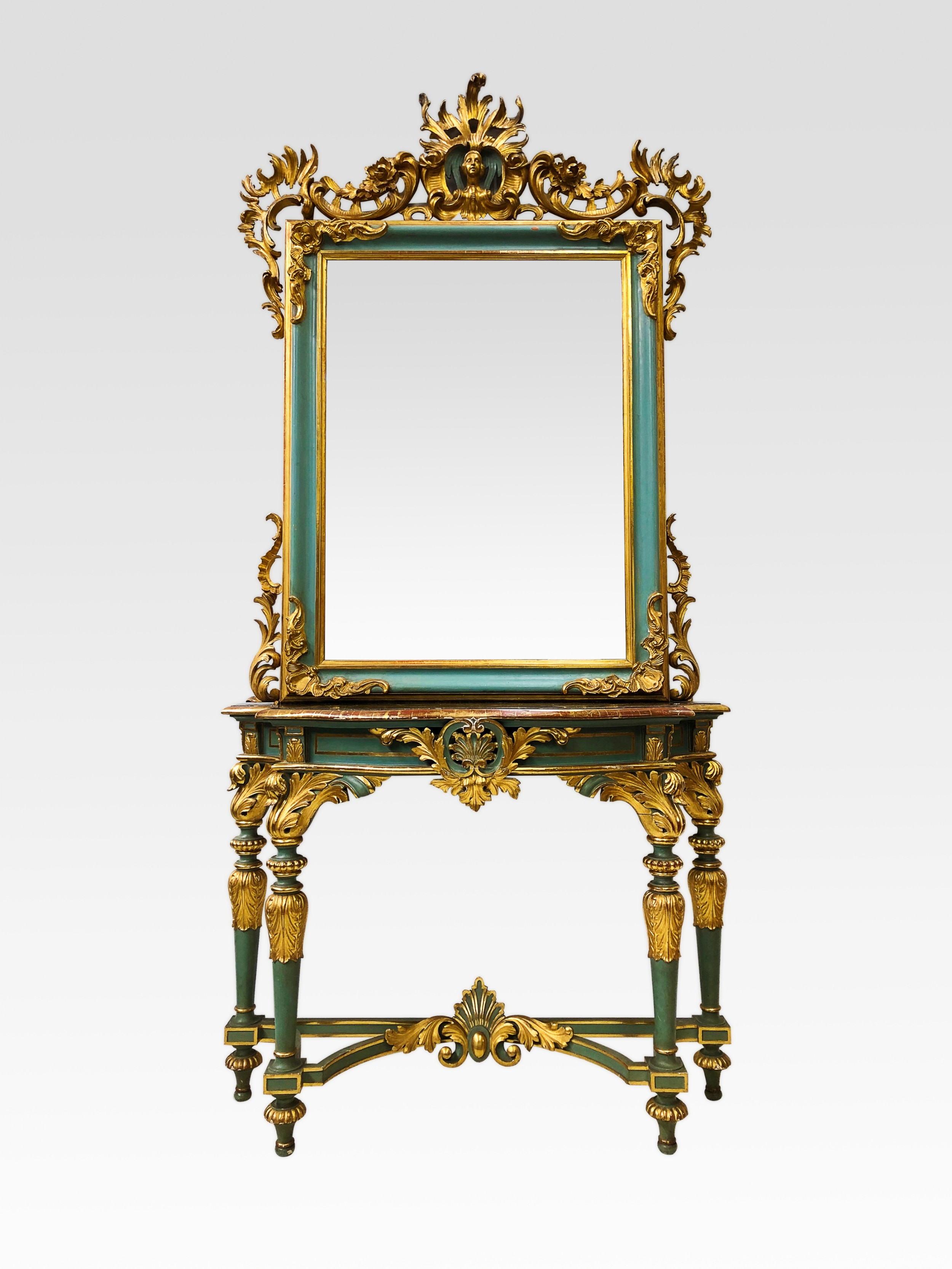 quality italian carved giltwood console table mirror