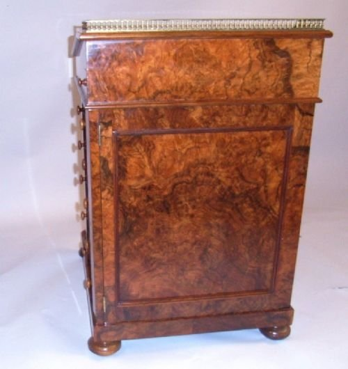 victorian burr walnut davenport - photo angle #3