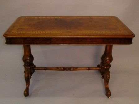 victorian inlaid burr walnut stretcher table