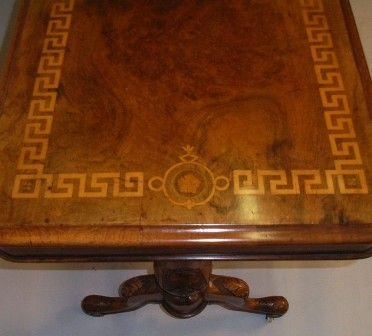 victorian inlaid burr walnut stretcher table - photo angle #2
