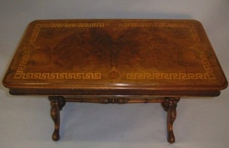 victorian inlaid burr walnut stretcher table - photo angle #3