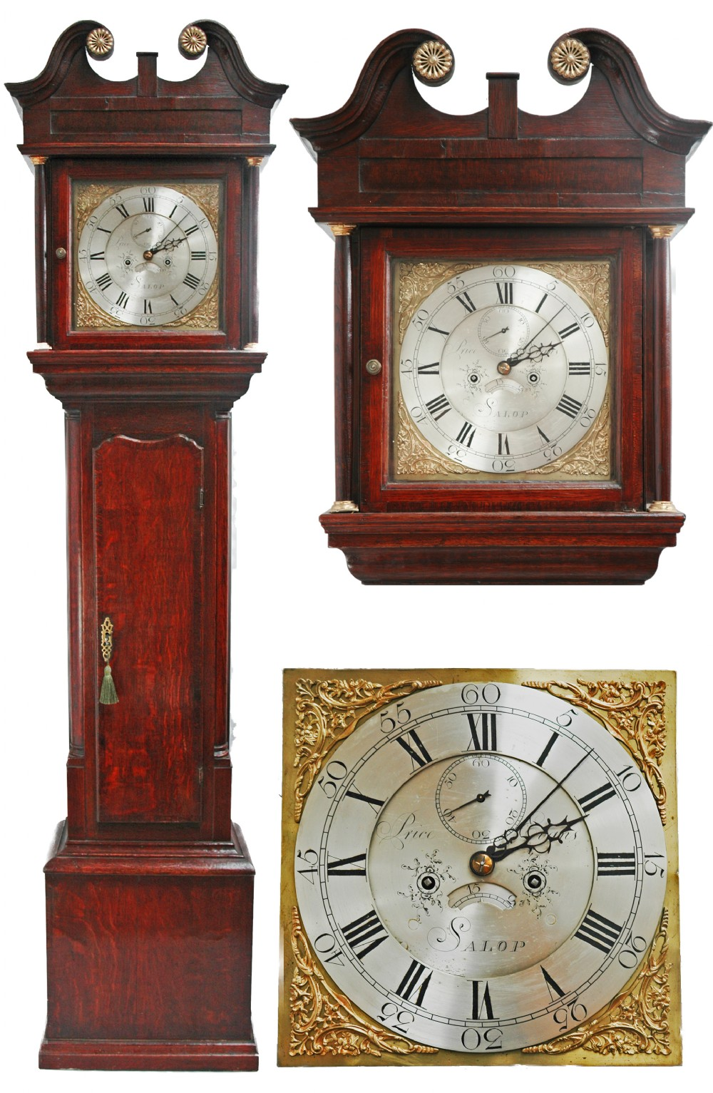 antique 8 day long case clock by price evans of salop circa 1770