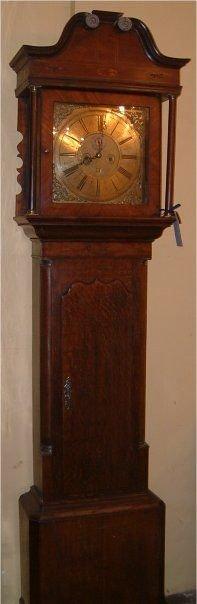 irish brass dial longcase clock oak case with mahogany banding made by samuel mackie armagh c1770