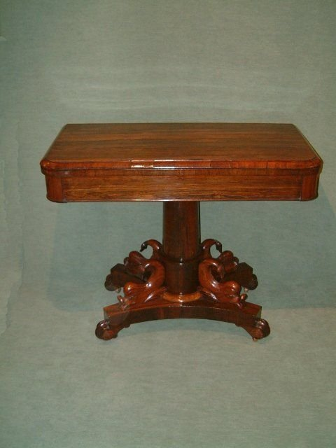 superb william 1vth rosewood card table with dolphin carved pedestal base