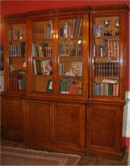 superb quality mahogany breakfront library bookcase by edwards roberts 19thc