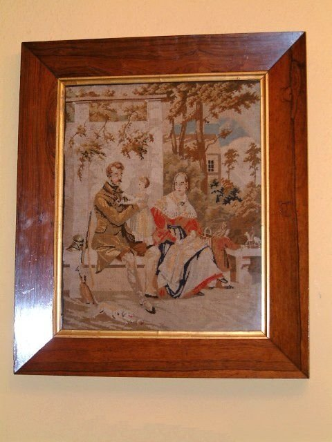 victorian tapestry in rosewood frame