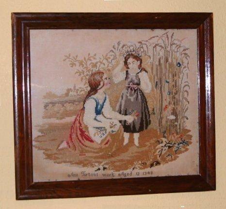 victorian tapestry sampler c1848 in rosewood frame