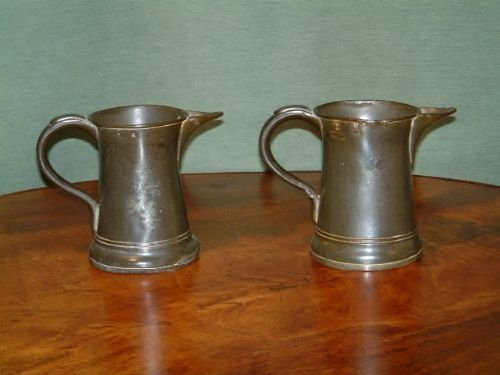 pair of victorian pewter ale jugs