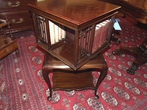 edwardian mahogany revolving bookcase - photo angle #2