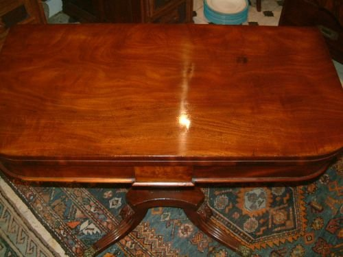 regency period mahogany pedestal card table - photo angle #3