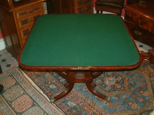 regency period mahogany pedestal card table - photo angle #4
