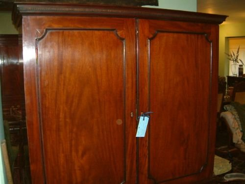 george 3rd mahogany linen press with original slides - photo angle #3