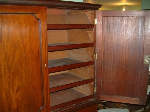 george 3rd mahogany linen press with original slides - photo angle #4