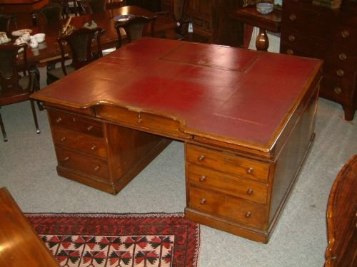 superb victorian large partners desk provenance somerset house london