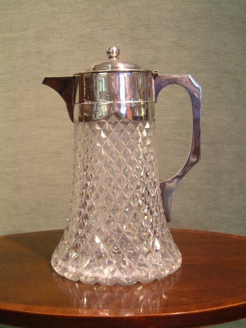 1893 hallmarked silver top claretlemonaid cut glass jug with liner for crushed ice