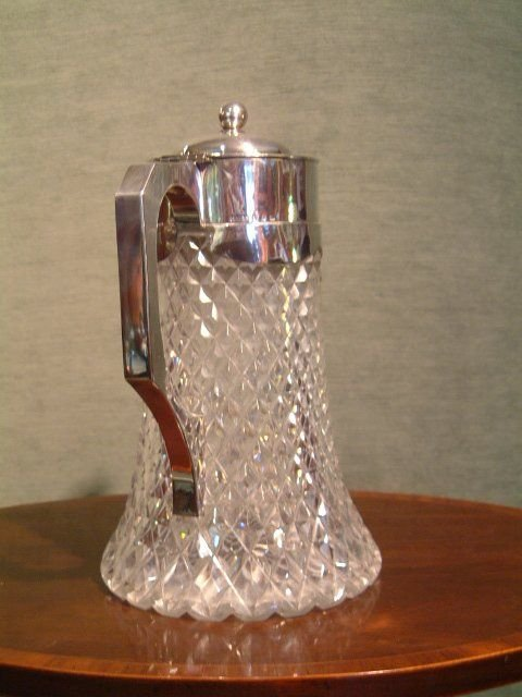 1893 hallmarked silver top claretlemonaid cut glass jug with liner for crushed ice - photo angle #2