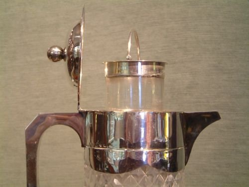 1893 hallmarked silver top claretlemonaid cut glass jug with liner for crushed ice - photo angle #3