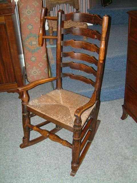 19th Century Lancashire Ladder Wing Back Rocking Chair  163608 ...