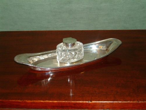 hallmarked silver ink stand with cut glass bottle london c1906