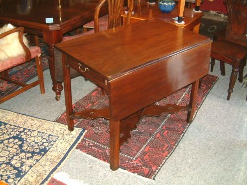 18th century mahogany pembroke table with display shelf stretcher