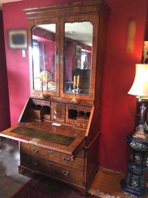 queen anne period walnut bureau bookcase with original mirrored doors c1710
