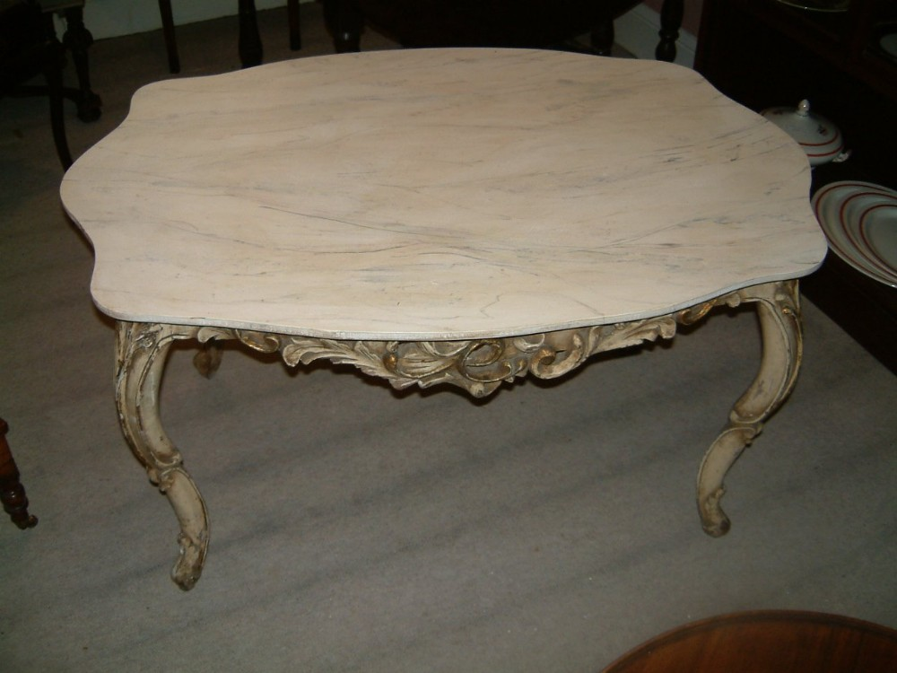1920's carved coffee table with faux painted marble top