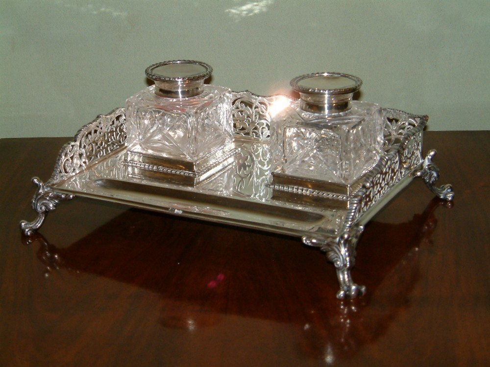 edwardian silver inkstand with cut glass bottles dated 1906