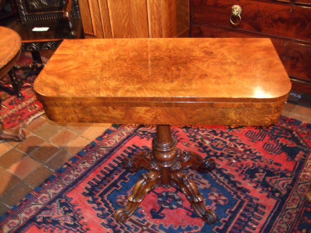 victorian burr walnut foldover card table with carved base