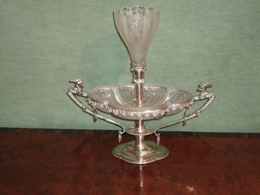 edwardian walker hall silver plated crystal glass table centre