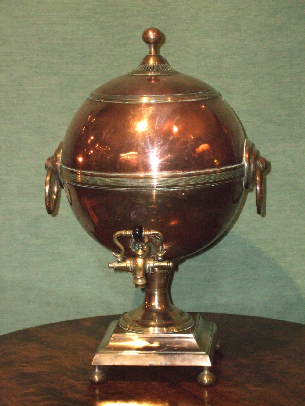 george 3rd copper bell metal tea urnsamovar with original fittings