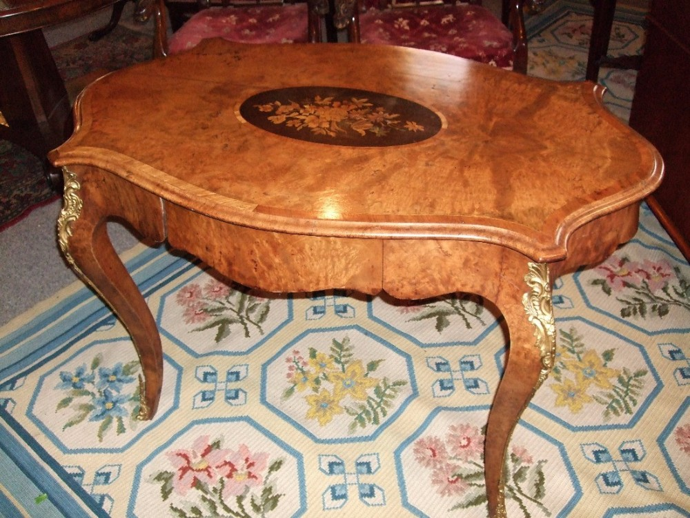 fine 19thc inlaid walnut centre table with drawer ormolu mounts