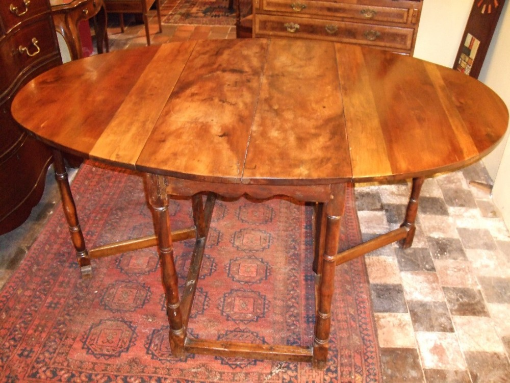 18thc Solid Yew Wood Gate Leg Dining Table