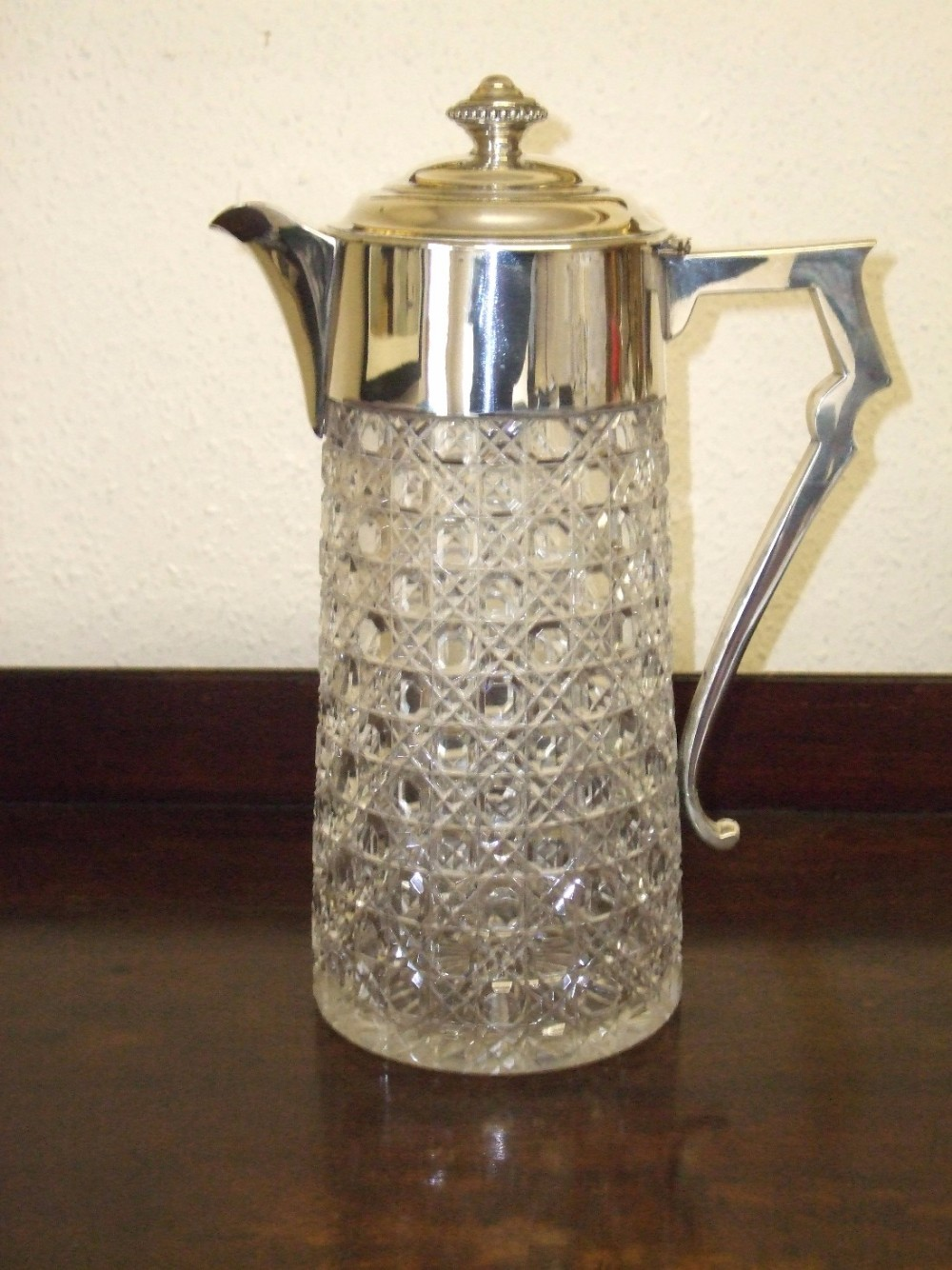 hobnail cut crystal silver mounted claretjug c1894 london hallmarks